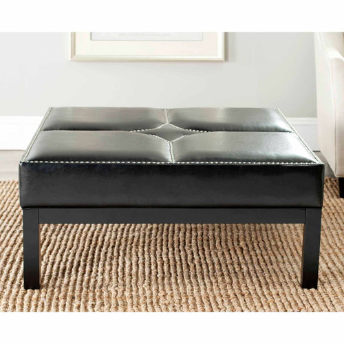 Safavieh Terrence Bicast Leather Cocktail Ottoman with Silver Nail Heads