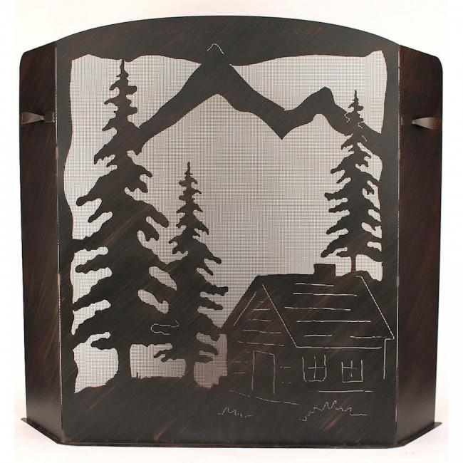 Coast Lamp Manufacturer 15-R28D-S Small Iron Cabin Scene Fireplace Screen Burnt Sienna by Coast Lamp Manufacturer