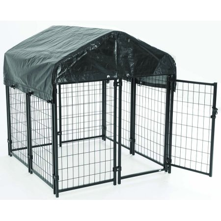 AKC® Pet Resort™ 4ft x 4ft x 52in. High Heavy-duty Dog Kennel for Deck Porch & Patio Cover Included with Free Training Guide
