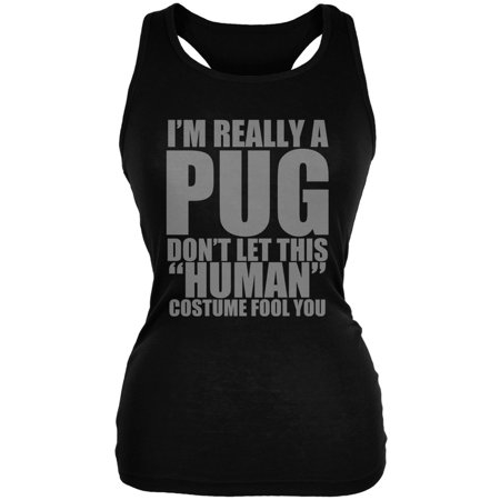 Halloween Human Pug Costume Black Juniors Soft Tank Top