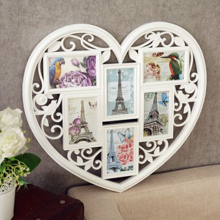 White Love Heart 6 Image Photo Frame Wall Decor Family Wedding Picture Gift 6''   - image 1 of 1