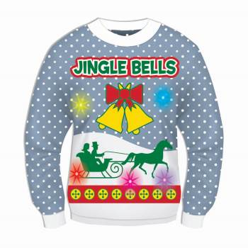 Blue Musical Light-Up Jingle Bells Adult Ugly Christmas Sweater Medium