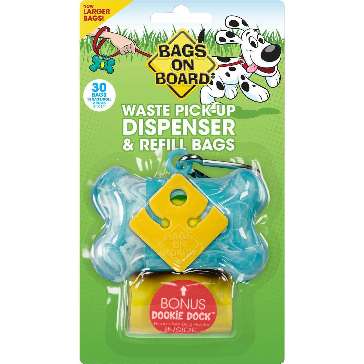 Bags On Board Waste Pick-up Dispenser And Refill Bags With Dookie Dock 30 Bags Turquoise - image 1 de 1