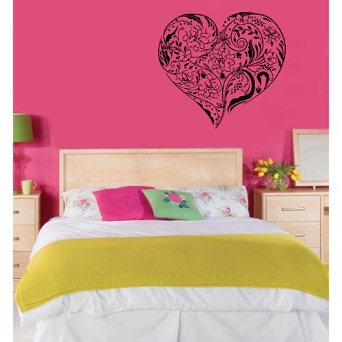 Heart with Flowers Vinyl Wall Decal