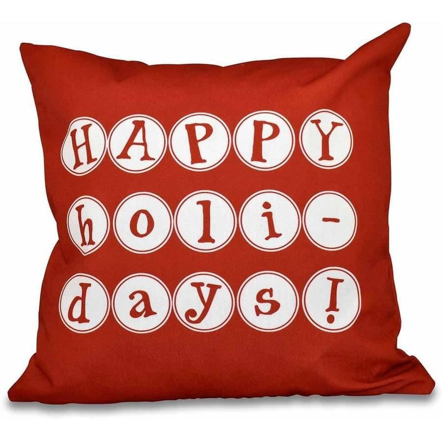 Generic Simply Daisy 16 x 16 Happy Holidays Word Print Pillow