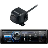 Marine MotorSports Bluetooth USB AUX AM/FM Single DIN Digital Media Stereo Receiver with Rear View Cam Input and Independent Camera Key, Kenwood Wide Angle Color Back Up Camera