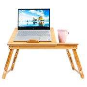 Ktaxon Bamboo Laptop Computer Desk, Adjustable Portable Laptop Try
