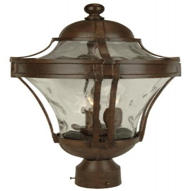 Craftmade Z4225-98 Post Mount Light with Clear Hammered Glass Shades, Bronze Finish