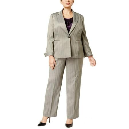 Le Suit Womens Plus Herringbone Striped Pant Suit - Herringbone Striped Suit