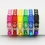 Pet Cat Dog Puppy Kitten Adjustable Collar with Bell, Pawsprints Necklace Shaped Collar with Buckle Harness