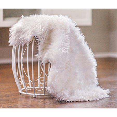 Chanasya Super Soft Faux Fur Fake Sheepskin White Sofa Couch Stool Casper Vanity Chair Cover Rug