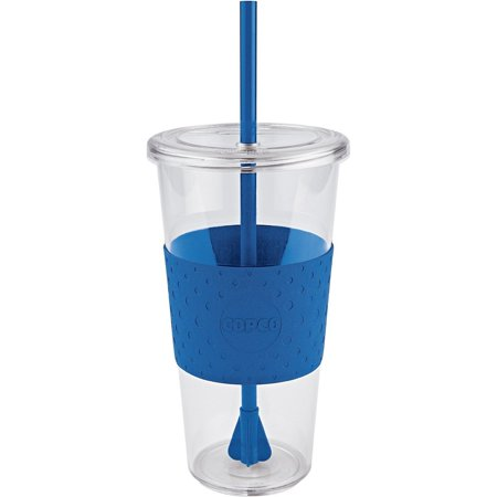 Copco Sierra On The Beach Tumbler With Straw Non Slip Grip BPA Free Plastic 24 Oz Pack of 2 Clear Royal Blue