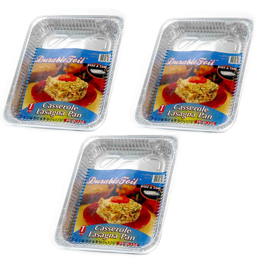 Disposable Aluminum Giant Lasagna Pan - 3 Pans (13.375 x 9.625 x 2.875) by DURABLE FOIL
