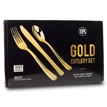 300 Elegant Disposable Gold Plastic Silverware Utensils - Heavy Duty Set Pieces of 100 Spoons, 100 Knives, 100 Forks Disposable Cutlery Plastic Set - 100% Customer Satisfaction (Customer Satisfaction Guarantee Statement)