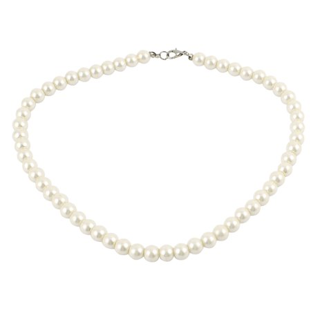 Unique Bargains Lobster Clasp White Faux Pearl Jewelry Chain Linked Necklace Neckwear for Woman