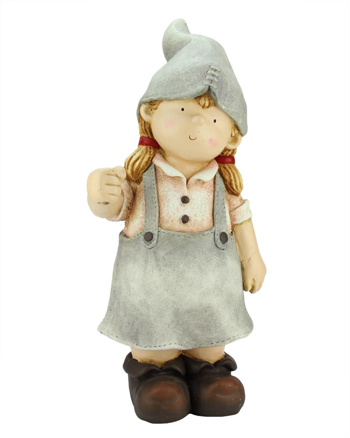 """21.25"""" Standing Young Girl Gnome Outdoor Patio Garden Statue by Northlight"""