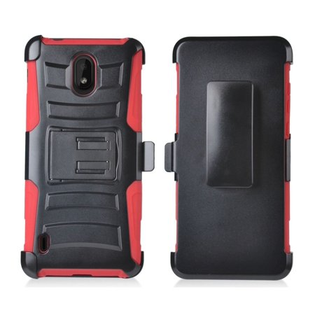 Bemz Rugged Series Compatible with Nokia 3.1 A, Nokia 3.1 C - Heavy Duty Armor Double Layer Shockproof Rugged Protection Case with Built-in Stand and Rotatable Belt Clip Holster -