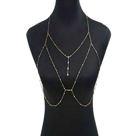 Sexy Body Chain - Womens Fashion Sexy Layered Harness Crossover Bikini Body Chain BZ77-Gold(BZ7747)