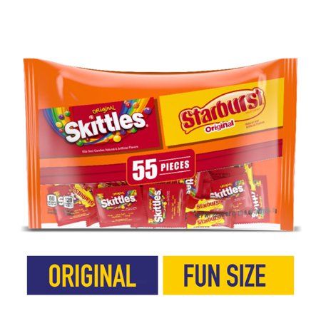 SKITTLES, STARBURST Original FUN SIZE Halloween candy, 55 pieces, 22.07 oz bag