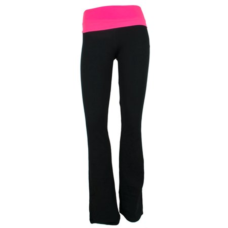 dfa9773c23 SNJ - Women's Popular Basics Cotton Yoga Pants With Fold Down Waist Flare  Fit (FAST & FREE SHIPPING) - Walmart.com