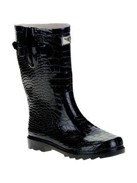 Forever Young Women's Short Shaft Rain Boots Croc Texture