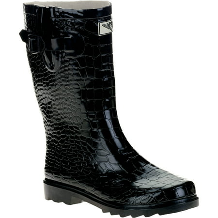 Forever Young Ladies Short Shaft Rain Boots Croc Texture