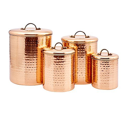 "4 Piece Dcor Copper ""Hammered"" Canister Set"