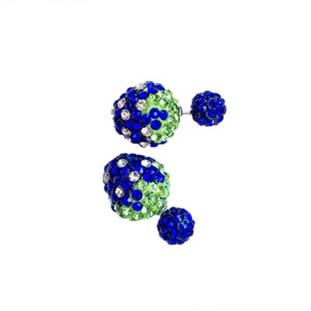 New Candy Color Rhinestone Strawberry Bling Double Side Earrings Two Ball Stud for Women
