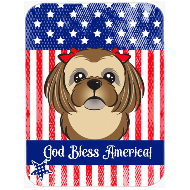 God Bless American Flag with Chocolate Brown Shih Tzu Mouse Pad, Hot Pad or Trivet