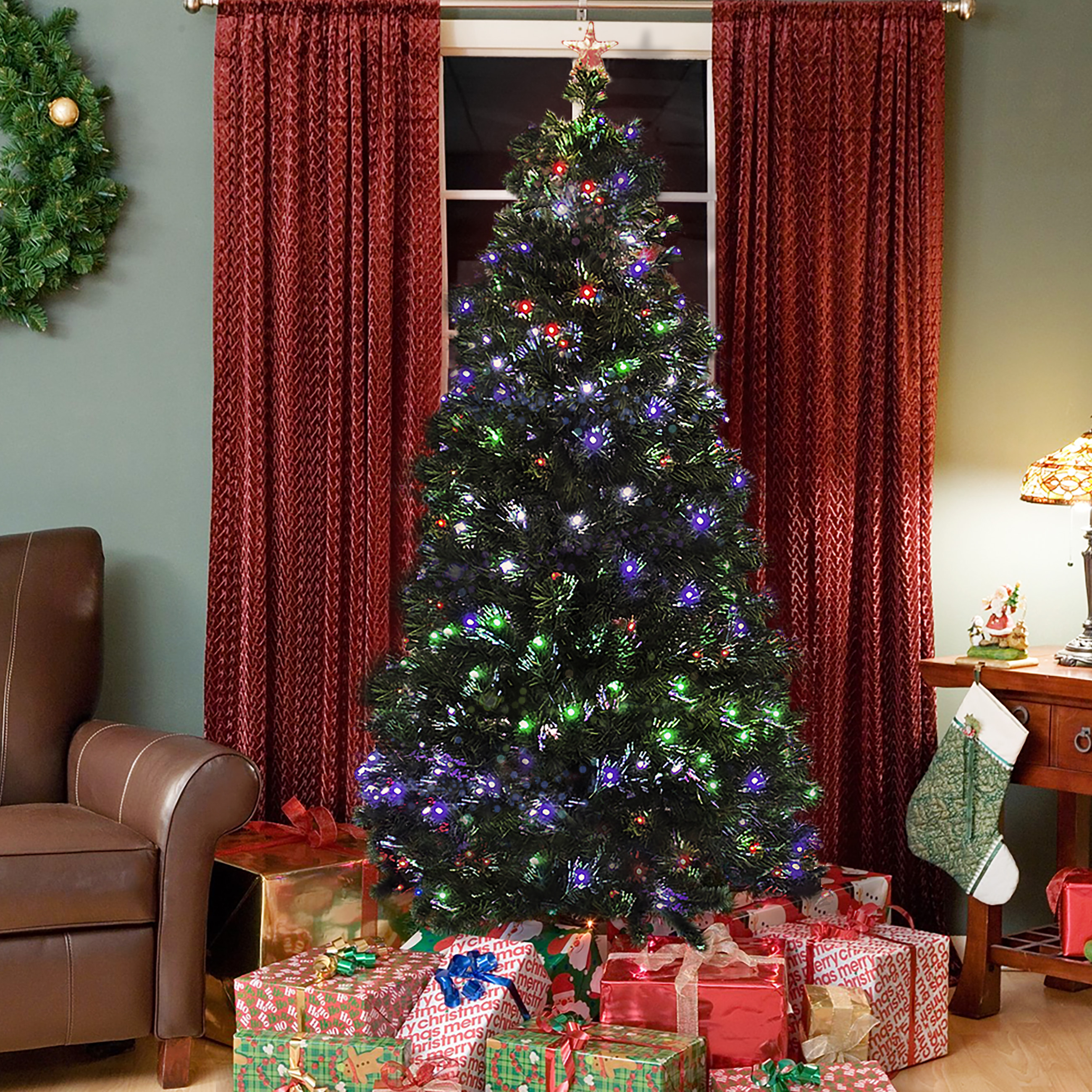 Pre-Lit Fiber Optic 7' Green Artificial Christmas Tree with LED Multicolor Lights and Stand