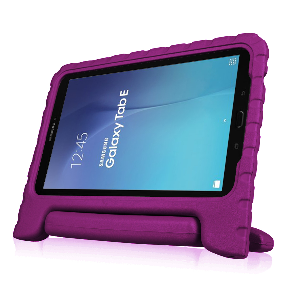 For Samsung Galaxy Tab E 9.6 Tablet Kiddie Case - Fintie Lightweight Shock Proof Convertible Handle Cover, Purple
