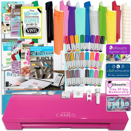 Silhouette Pink Cameo 3 Bluetooth Bundle with Oracal 651 Vinyl, Tools, Pixscan, and More