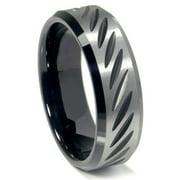 Titanium Kay Black Tungsten 8MM Diamond Cut Beveled Comfort Fit Mens Wedding Band Ring Sz 10.0