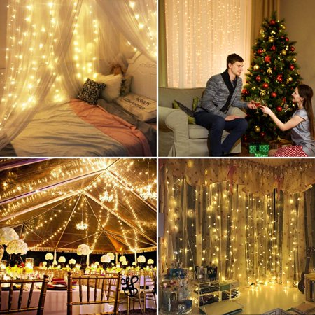 3mx3m 5 Colors 300Led Fairy String Lights Curtain Lamp Starry Christmas Light Outdoor for Garden Party Wedding Xmas Decor Plug Living Room Bedroom Daylight 110v](Outdoor Wedding Decor)
