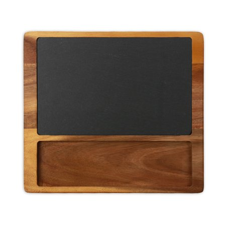 Monogram Online Acacia wood and slate Square Cheese Board