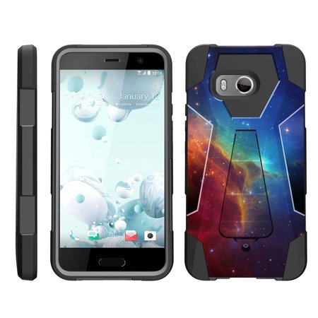 TurtleArmor ® | For HTC U11 | HTC Ocean [Dynamic Shell] Dual Layer Hybrid Silicone Hard Shell Kickstand Case - Colorful Nebula