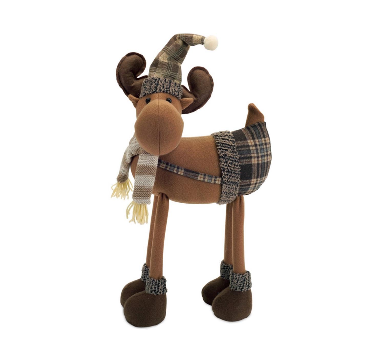 "26"" Brown Plush Plaid Moose Wearing Suspenders Christmas Decoration"