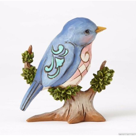 Jim Shore Heartwood Creek Miniature Bluebird on Branch Figurine 4055061 New Bird (Sadek Bird Figurine)