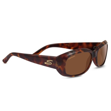 Serengeti Bianca 56mm Polarized Rectangle Sunglasses for Women (Red (Serengeti Polarized Sunglasses)