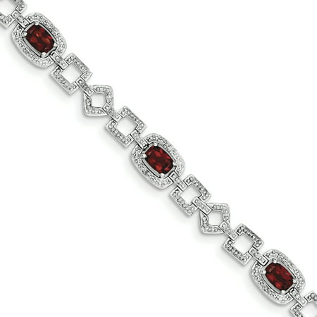 Sterling Silver Diamond & Garnet Bracelet. Carat Wt- 0.09ct. Gem Wt- 4.02ct