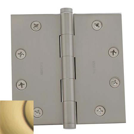 Square Mortise Hinge with Non Removable Pin, Satin Brass & Brown