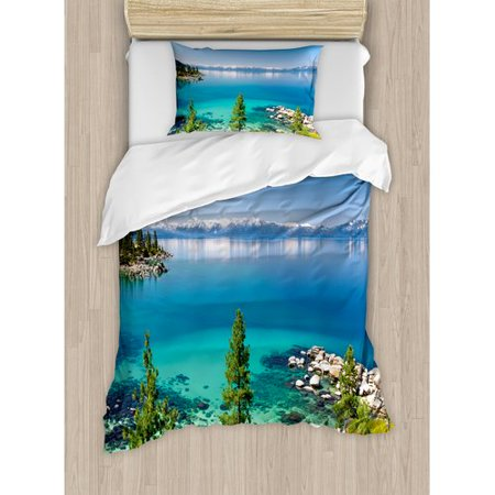 Sierra Rock Finish (Ambesonne Tranquil View of Lake Tahoe Sierra Pines on Rocks with Waters Shoreline Duvet Cover Set)