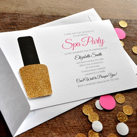 Spa Party Invitations and Envelopes. We Print, Cut, Glue and Ship to You in 1-3 Business Days. Spa Party Invite. - Cute Invitations