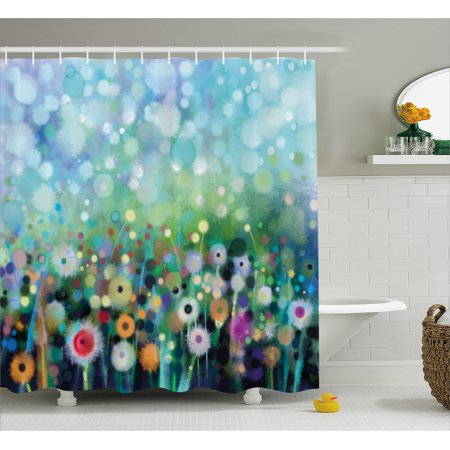 Flower Shower Curtain, Dandelion Seeds in Air Splashes Pollination Time Mother Earth Growing Giving Life, Fabric Bathroom Set with Hooks, Multicolor, by Ambesonne - Mom Shower