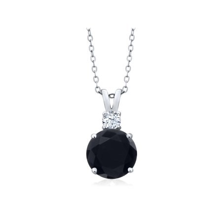 3.14 Ct Round Black Onyx and White Topaz 925 Silver Women's Pendant + 18