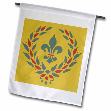 3dRose Red and Green Medieval Design - Garden Flag, 12 by 18-inch - Medieval Twelve Light