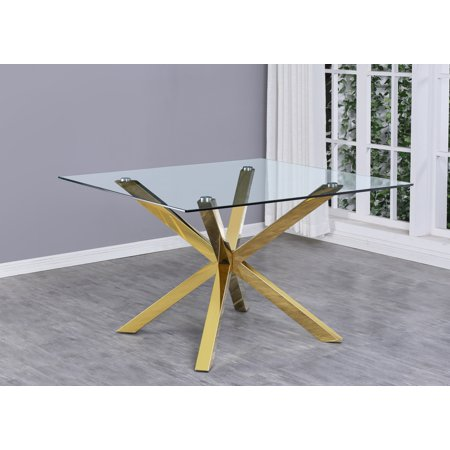 Modern Square Dining Table with Clear Glass, Gold Stainless ...