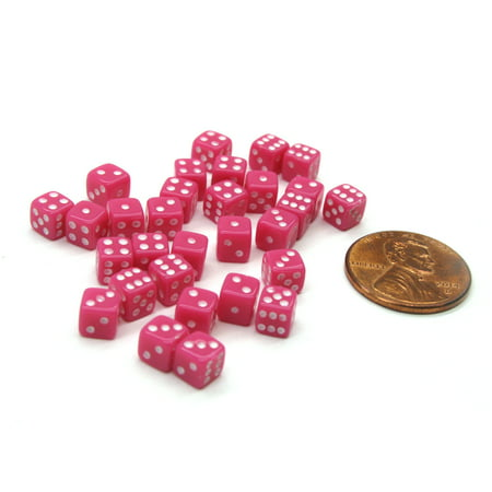 Koplow Games 30 Deluxe Rounded Corner Six Sided D6 5mm .197 Inch Small Tiny Dice - Pink #00647](Pink Dice For Car)