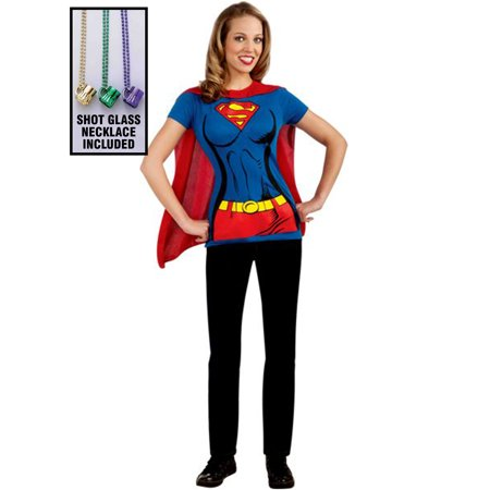 Womens Supergirl T-shirt W/ Cape Adult Party Kit