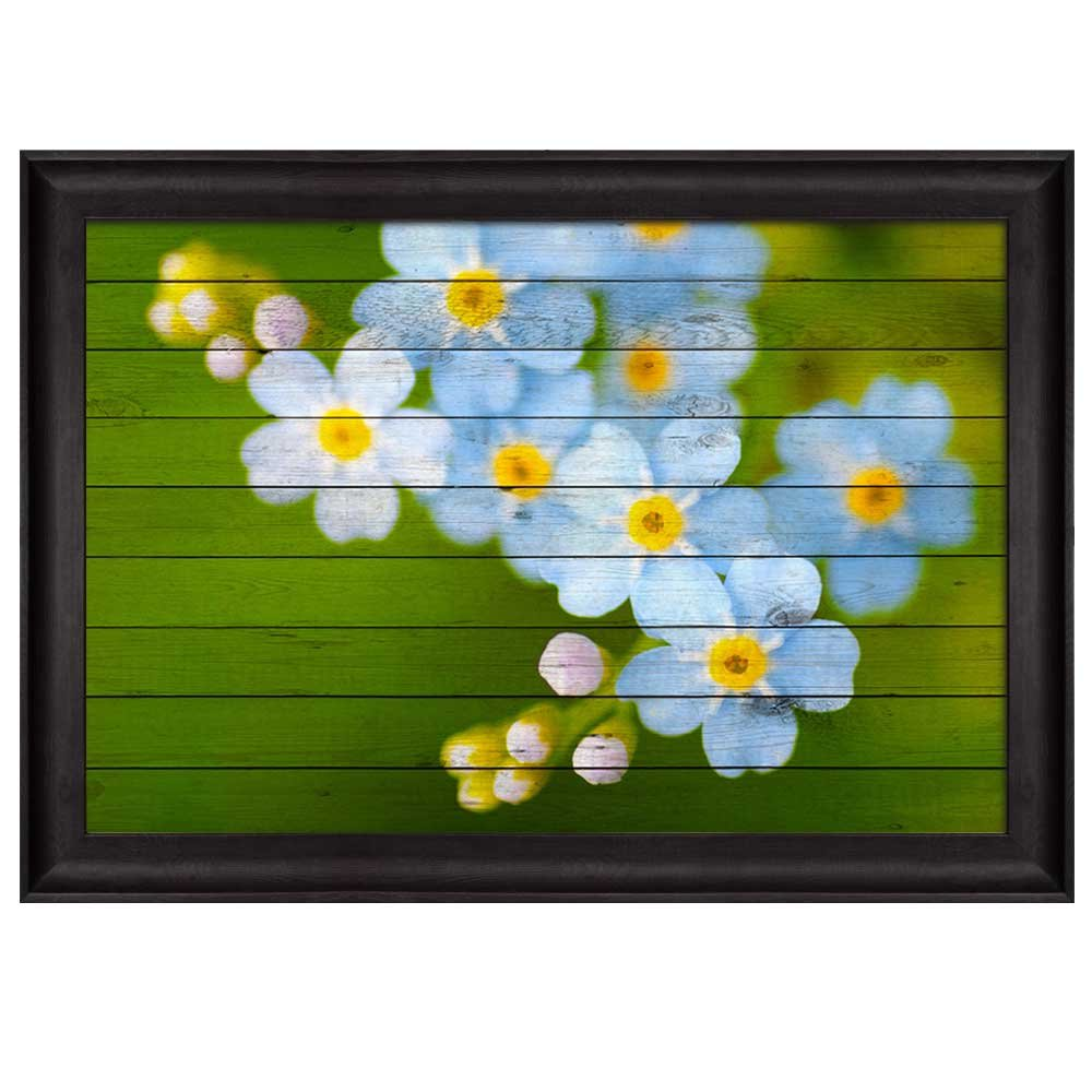 wall26 - Small Blue and White Flowers Over Green Wood Panels - Nature - Framed Art Prints, Home Decor - 16x24 inches